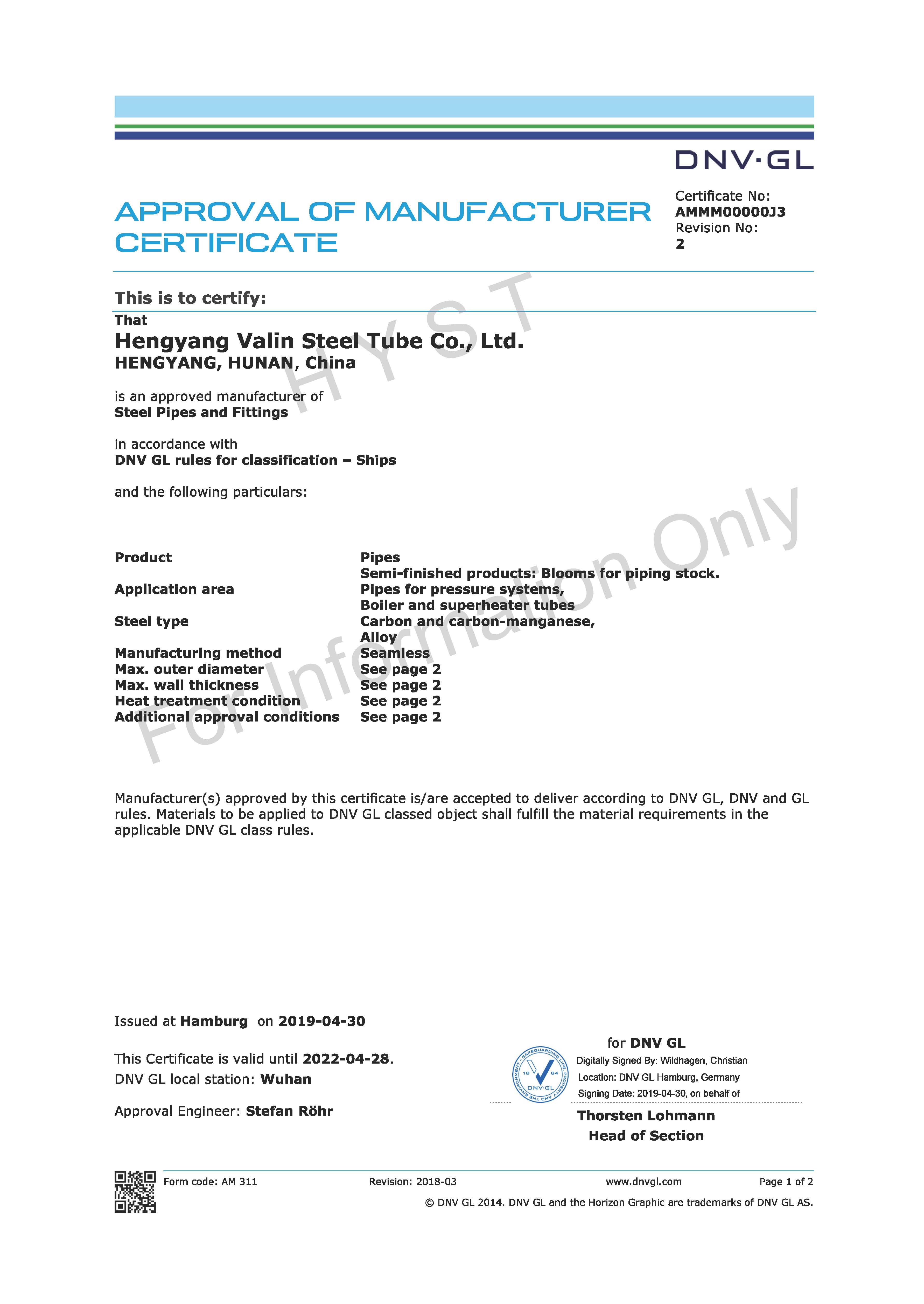 DNV . GL Certificate for Carbon-Manganese & Alloy Steel Pipes
