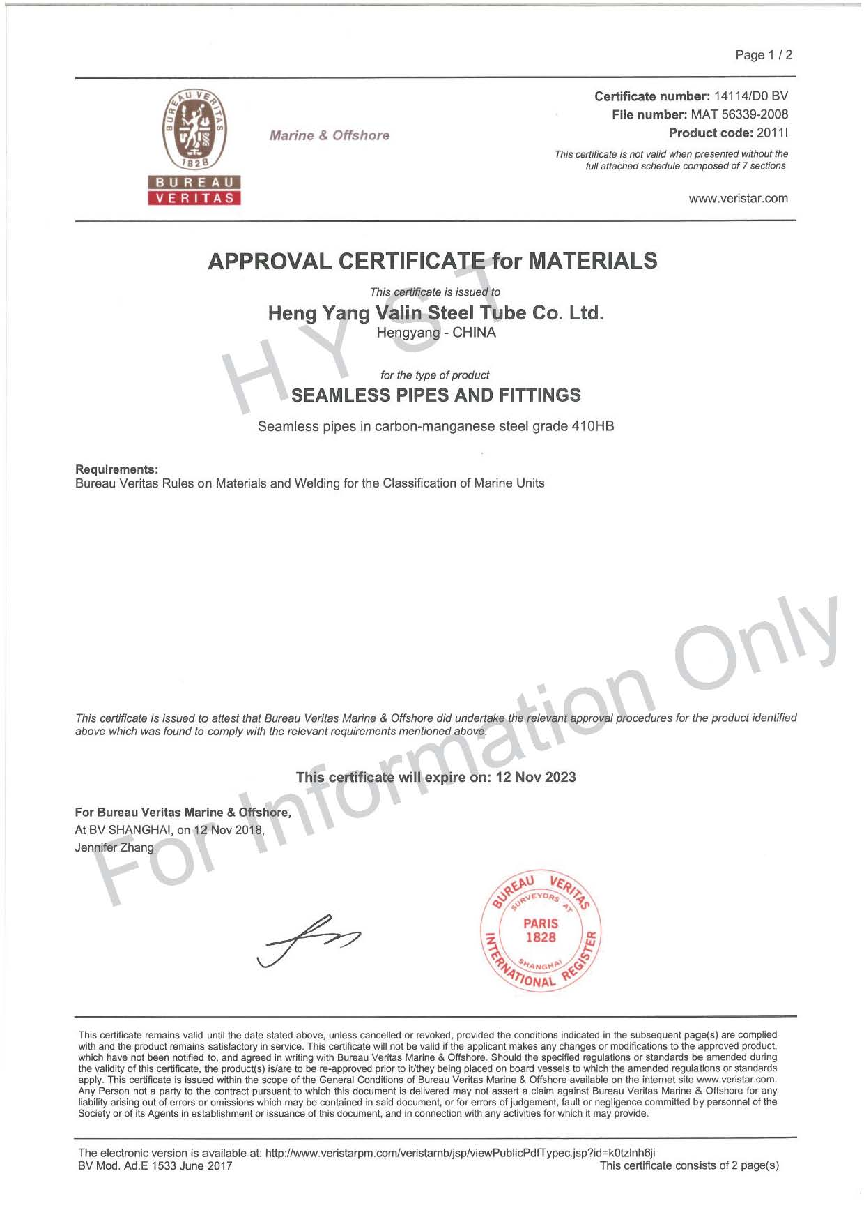 BV Certificate for 410HB Steel Pipes