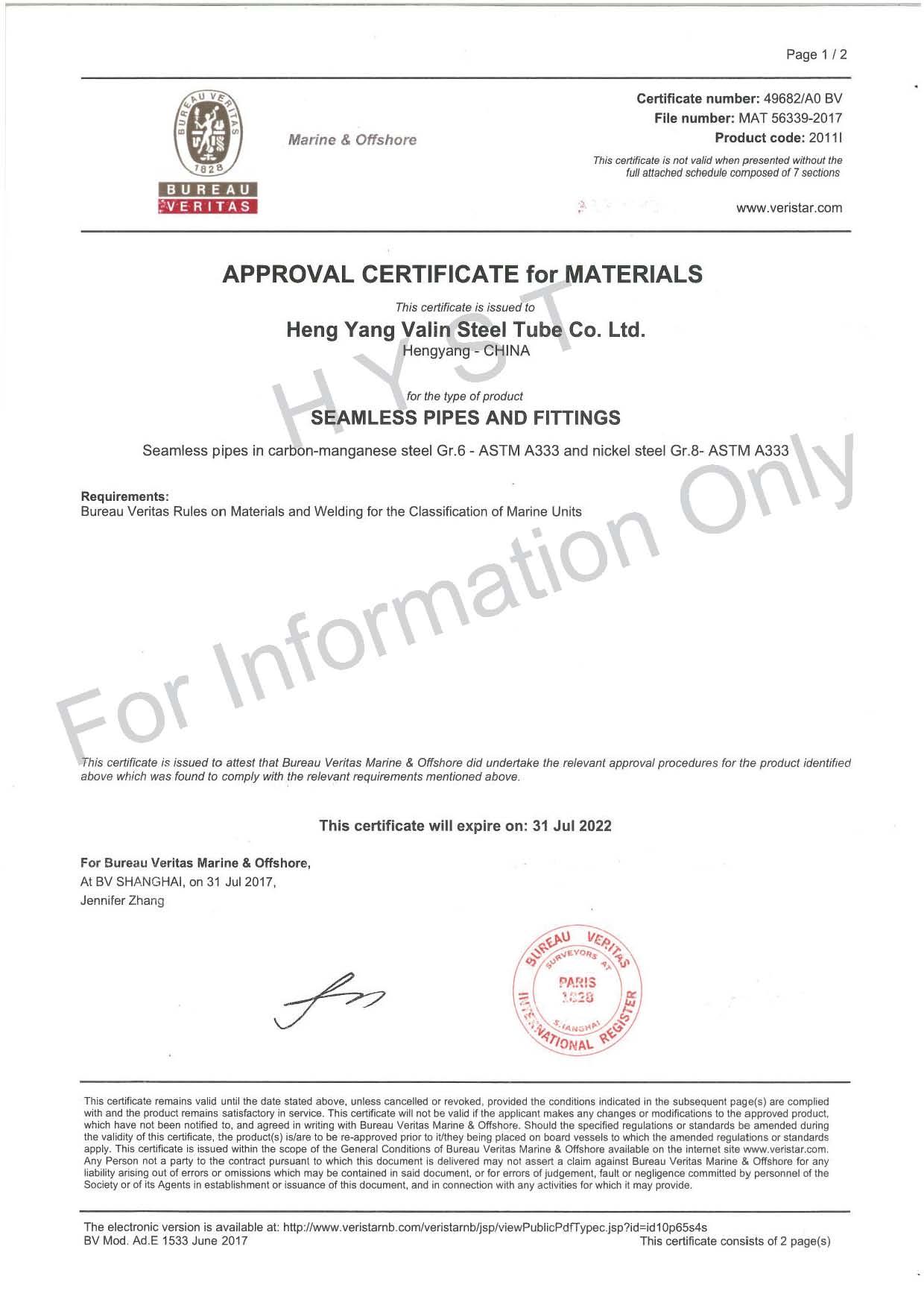 BV Certificate for Gr.6 & Gr.8 Steel Pipes