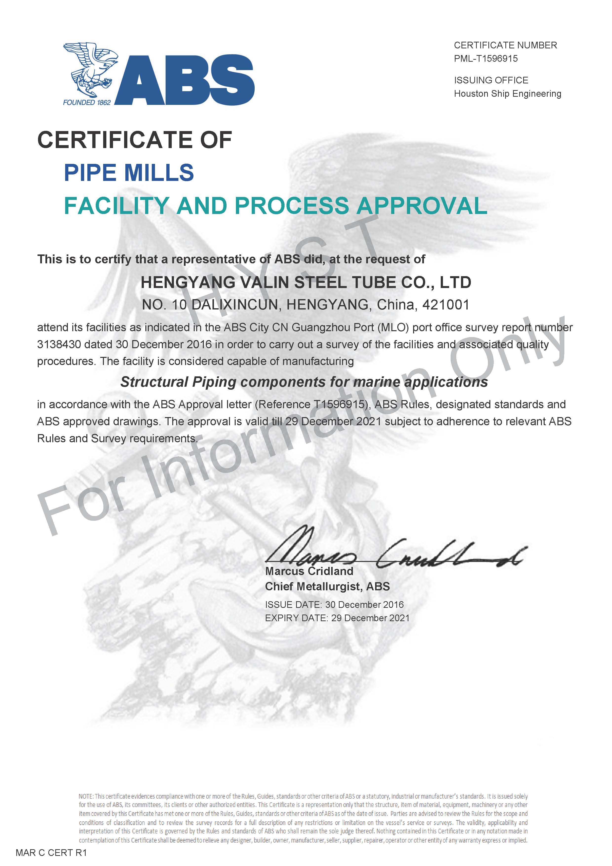 ABS Certificate for Structural Pipes
