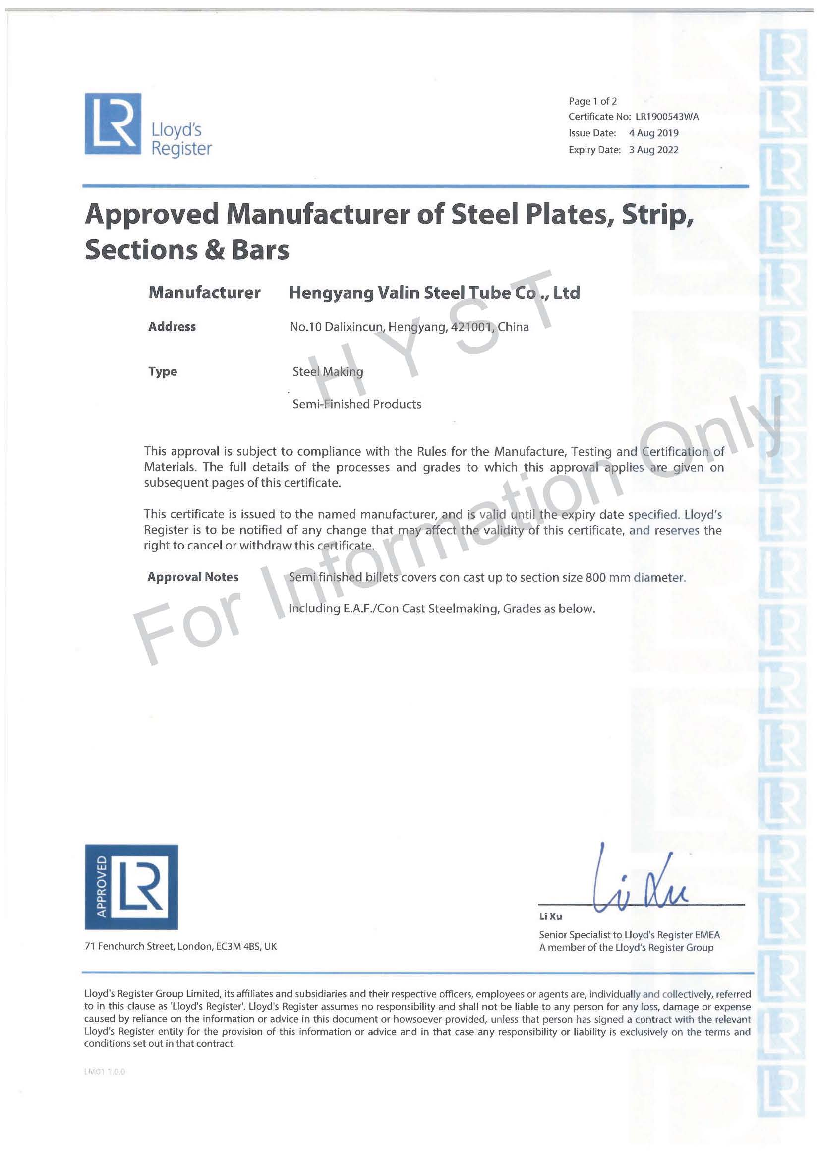 Lloyd Certificate for Billets of Carbon-Manganese & Alloy Steel Pipes