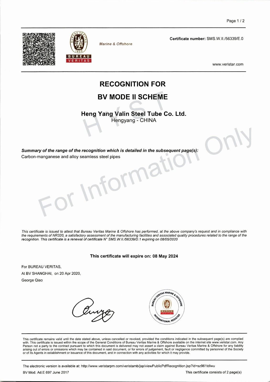 BV Recognition Certificate