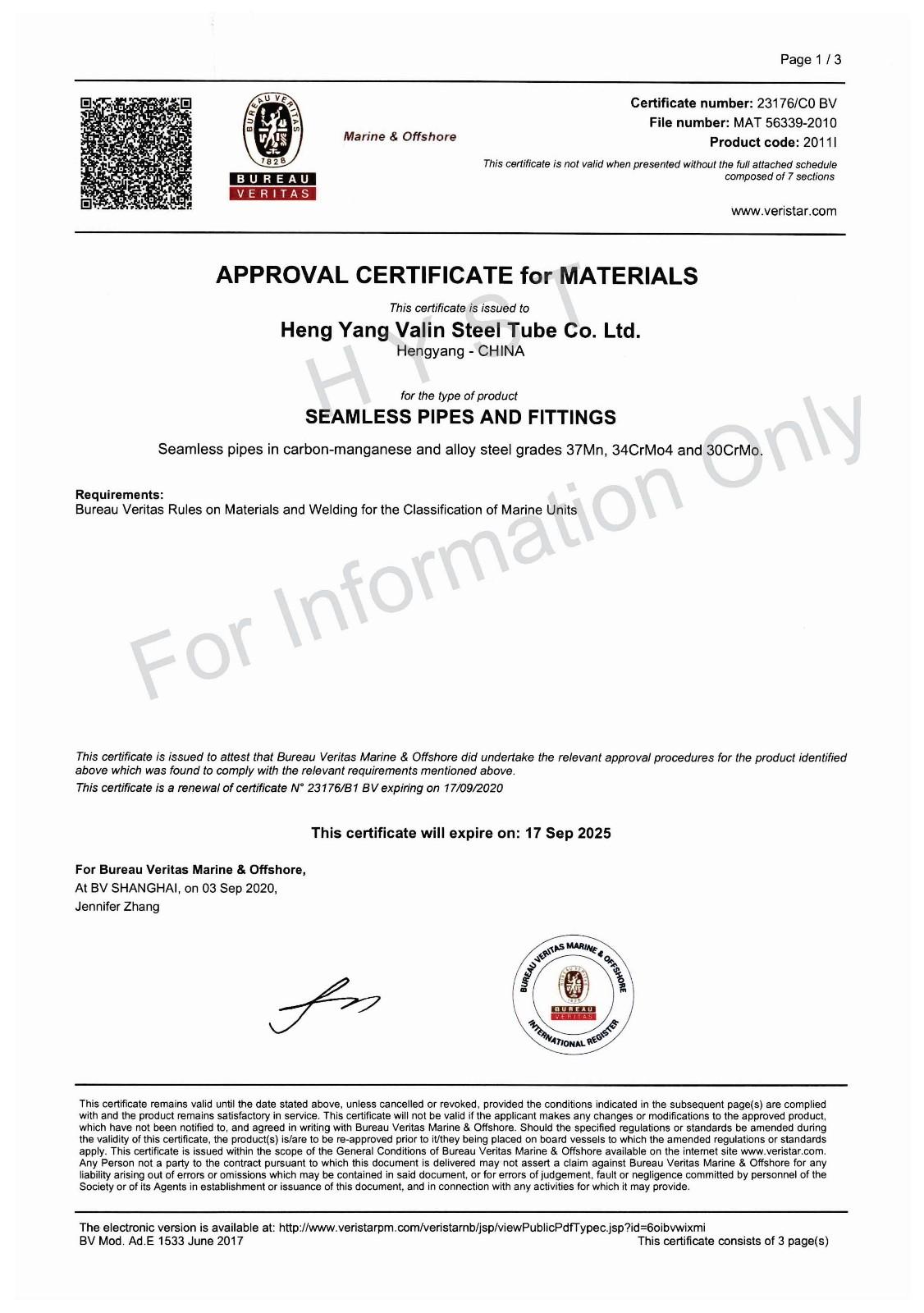 BV Certificate for 37Mn & 30CrMo & 34CrMo4
