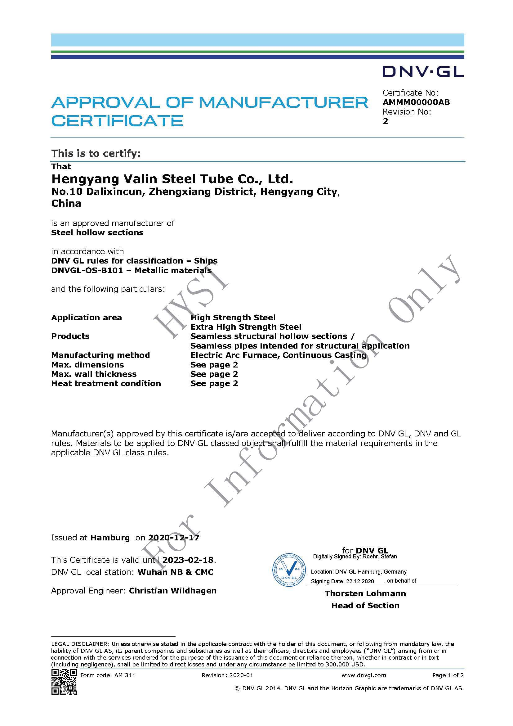 DNV . GL Certificate for Structural Steel Pipes