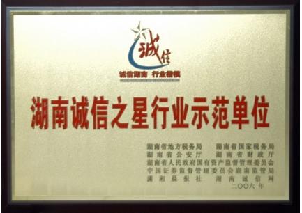 湖南诚信之星行业示范单位